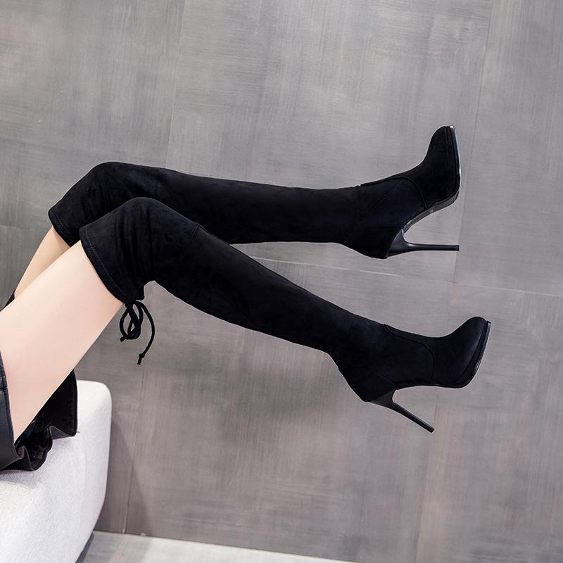 长筒过膝靴女2020年新款秋冬防水台细跟黑色瘦瘦靴网红高跟弹力靴