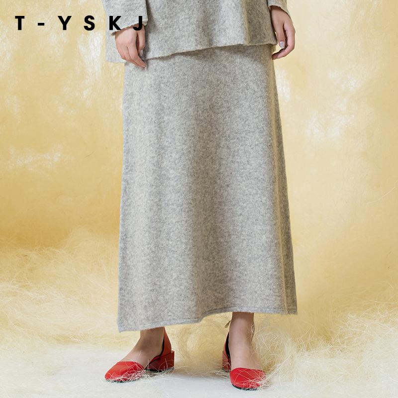 TYSKJ台绣2019年新款纯色半身裙羊绒过膝长裙冬天配毛衣裙子女士