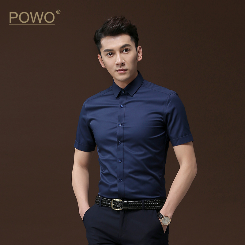 Powo shirt men's short sleeve dark blue Korean slim summer clothes business casual men's inch shirt summer shirt