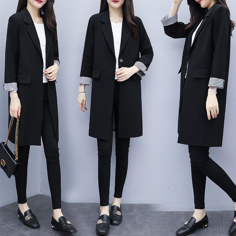 Net red blazer, medium length, thin Korean version, 2020 new spring and autumn clothing, casual and loose black suit, female
