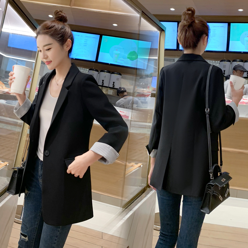 chic suit jacket female spring 2021 new Korean version of a buckle casual net red slim suit top trend