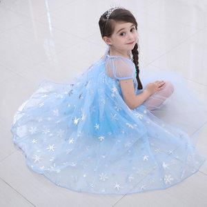 Frozen冰雪奇缘の冰雪皇后爱莎公主裙Elsa礼服蓬蓬纱连衣裙女童装
