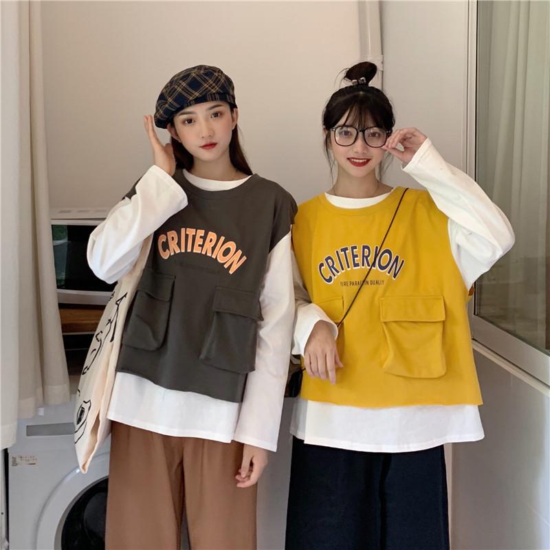 控价+5实拍实价韩版宽松套头长袖圆领T恤+工装口袋马甲背心两件套