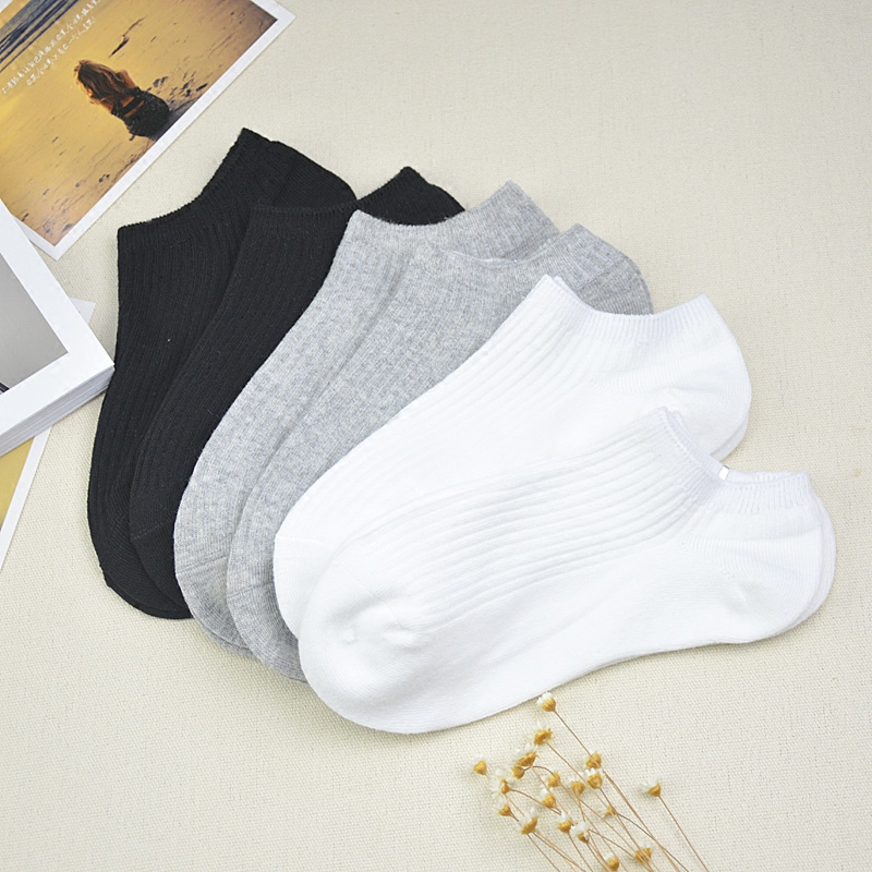 Womens pure cotton shallow mouth ship socks summer all cotton womens socks 100% cotton short tube socks thin summer mens shallow mouth socks