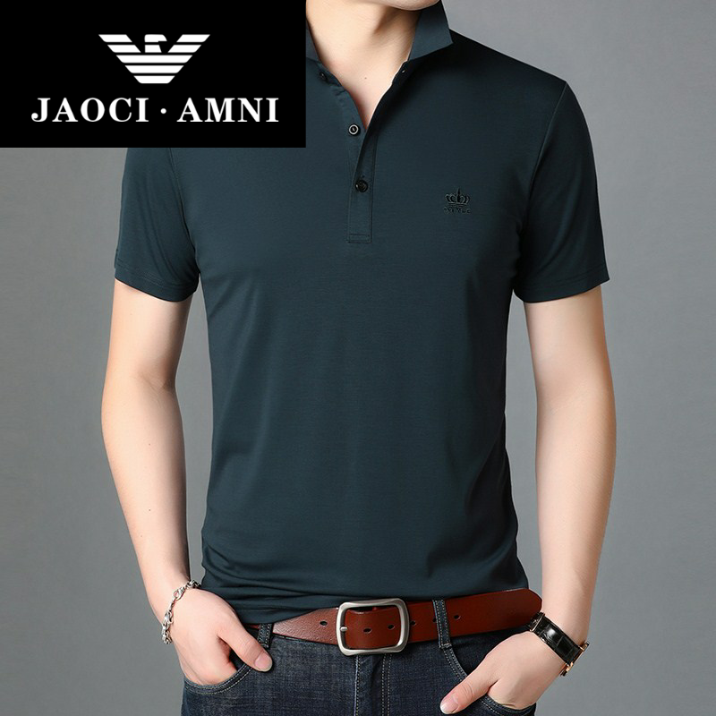 Qiaozhi Armani companys authentic ice silk mens T-shirt, mens short sleeve loose, summer new product is breathable and simple