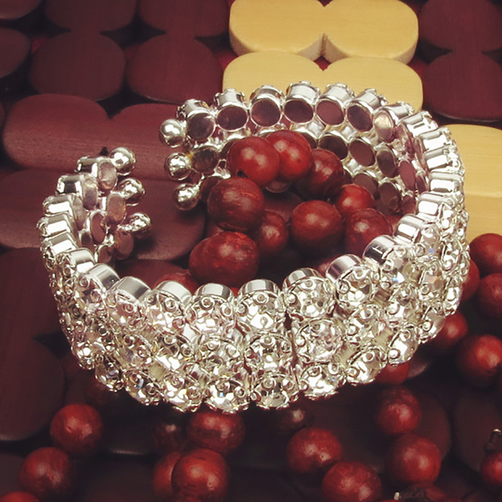 Cross border European and American atmosphere luxury charm womens three rows full of diamond bracelets