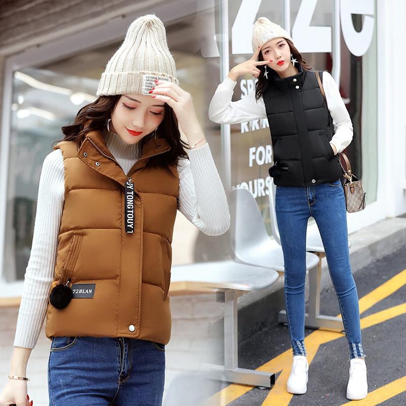 典趣正品秋冬季新款韩版修身羽绒棉马甲女短款加厚立领棉背心外套