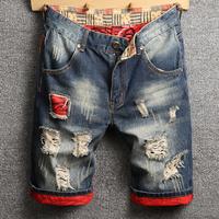 夏季破洞补丁牛仔男宽松直筒短裤