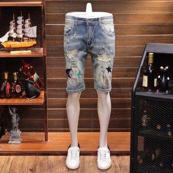 夏季薄款欧美风刺绣牛仔短裤男士个性潮牌五分裤休闲直筒修身中裤