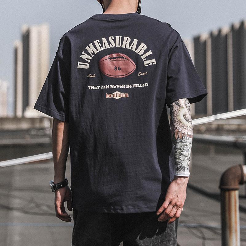 2021夏季印花T恤男短袖ins潮牌潮流宽松半袖纯棉体恤男生百搭衣服