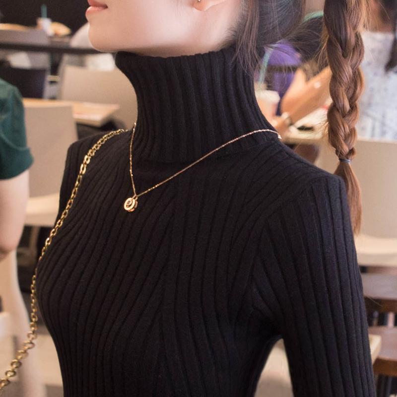 高领毛衣女打底衫2021年春秋季新款爆款洋气上衣2020内搭针织衫
