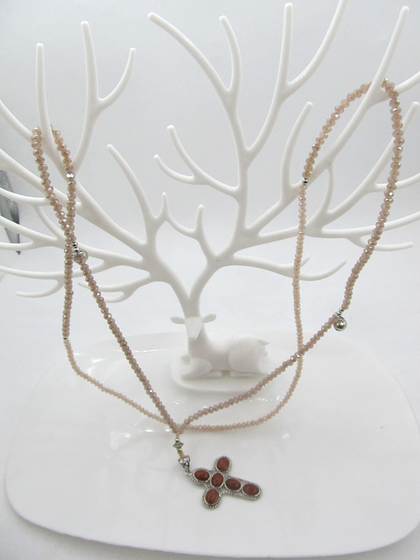 DIY Crystal Necklace light blue apricot sweater chain super shiny tassel Long Necklace package