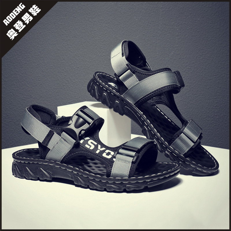 2021 summer new style mens sandals Trend Sports Leisure Velcro cork thick sole breathable outer sandals