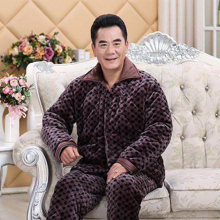 冬季中老年人加绒夹棉袄爷爷款睡衣