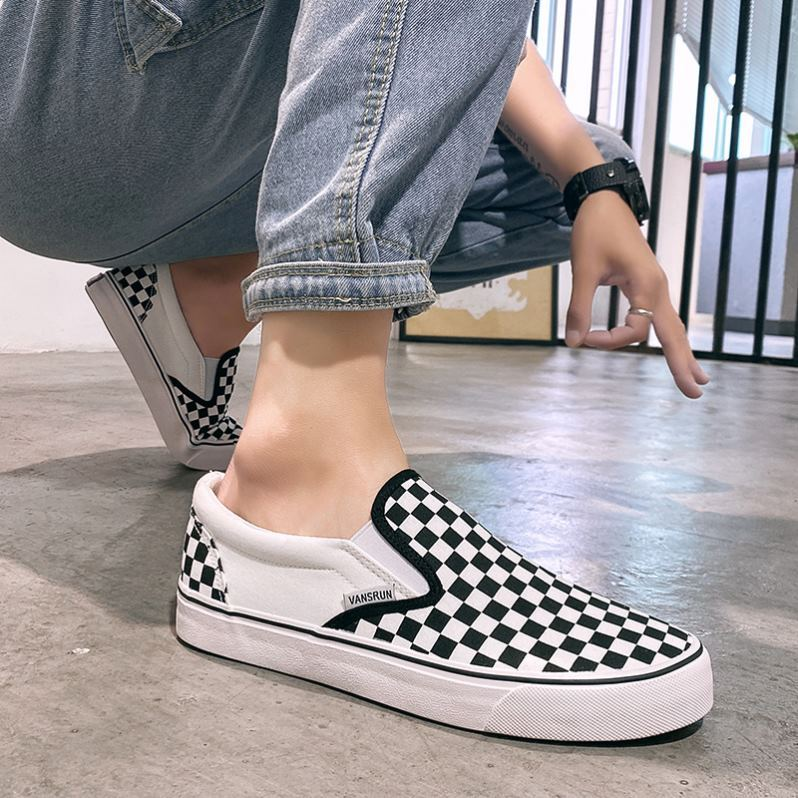 Mesh fashion boys fashion small low top womens shoes black-and-white Plaid shoes travel shoes thick soles increase comfort for men