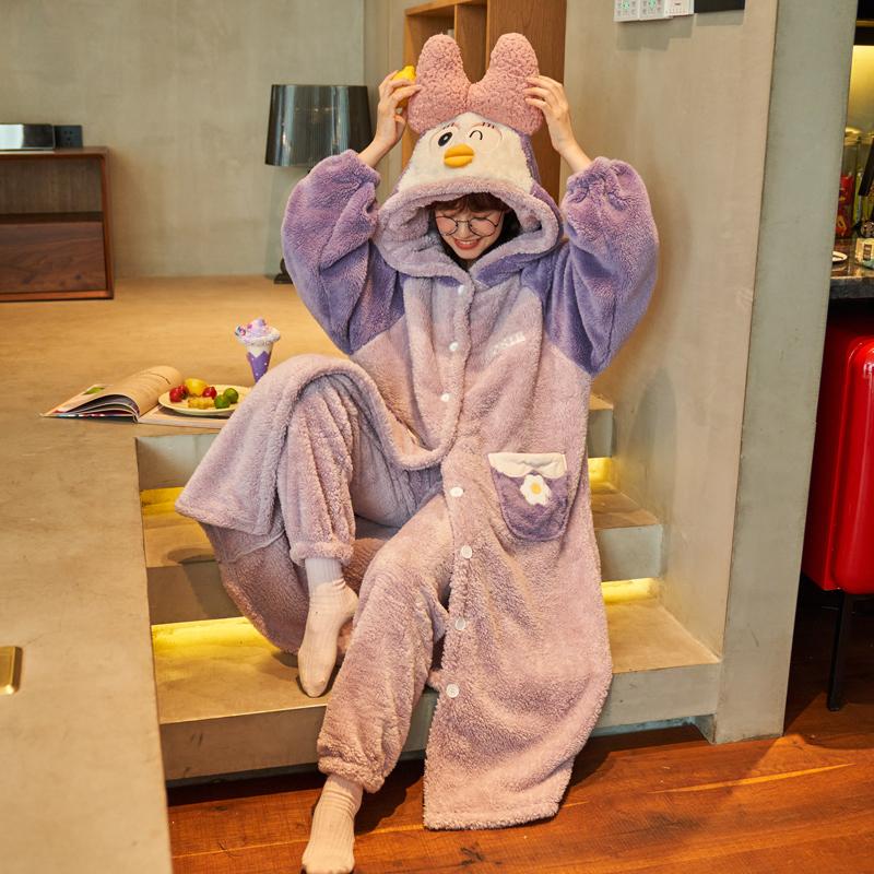 睡衣女秋冬季珊瑚绒加绒加厚法兰绒睡袍2021年新款长款家居服套装