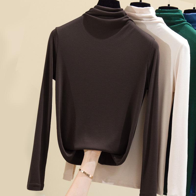 莫代尔打底衫女内搭2020春秋冬季t恤半高领薄款修身洋气长袖百搭