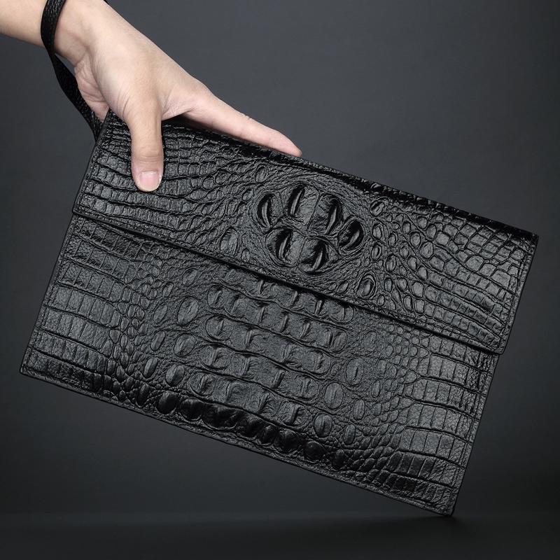 Mẫu túi xách da cá sấu nam 2020 mới thời trang lớp đầu tiên da bò túi xách da mềm túi phong bì mỏng nam - Túi của con người