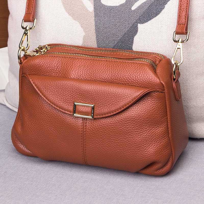 Leather bag womens bag new 2020 fashion large capacity soft leather middle aged mothers bag womens versatile One Shoulder Messenger Bag
