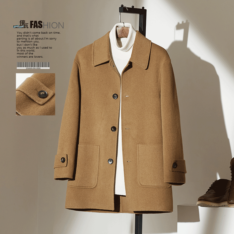 Fall and winter business casual woolen overcoat Men's long Lapel loose double-sided cashmere overcoat woolen overcoat
