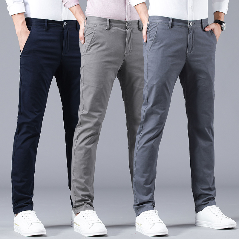 Spring casual pants men's straight cotton trousers dressing men's trousers spring autumn men's wild pants business leisure