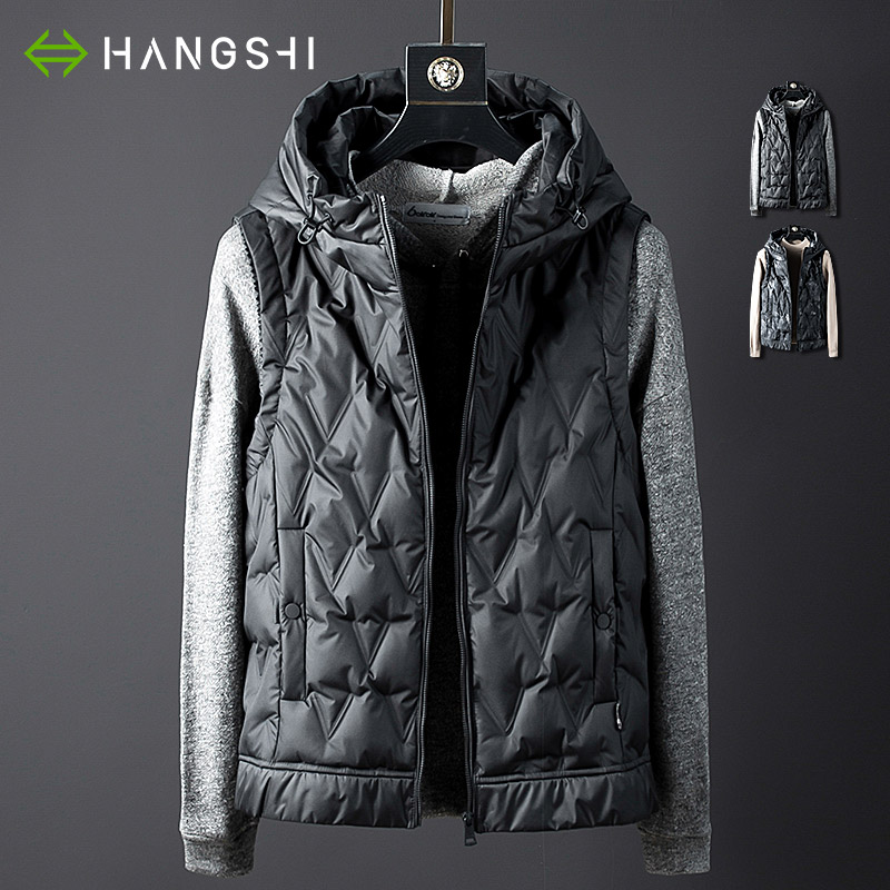 Hangshi light luxury men's sleeveless down vest short style 2020 spring and autumn thin coat Hooded Vest men