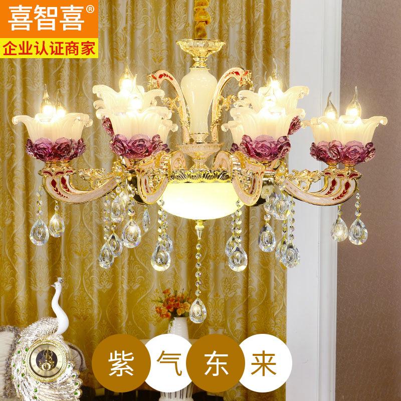 欧式客厅水晶吊灯 锌合金玉石卧室灯LED蜡烛灯餐厅别墅灯灯具