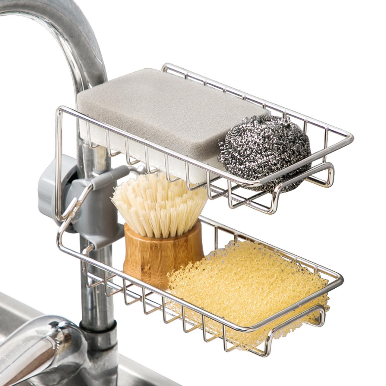 厨房收纳架抹布架子不锈钢水龙头置物架挂海绵沥水架水槽收纳神器