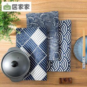 居家家双层图腾餐垫家用棉麻隔热垫布艺长方形防烫垫西餐垫餐桌垫