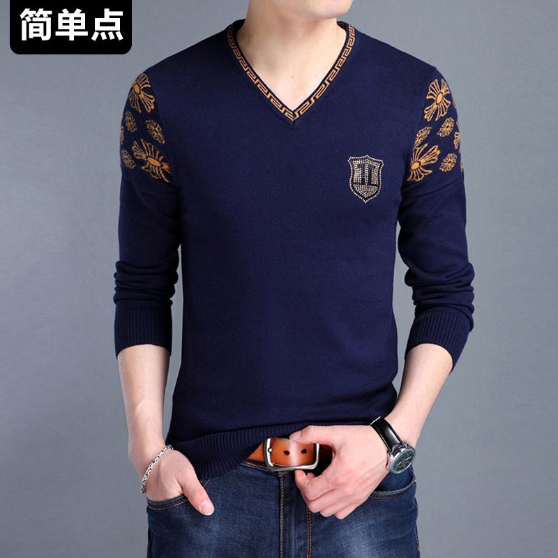 秋冬季男士长袖t恤男装衬衫V领针织体恤衫上衣服薄款打底衫男潮流