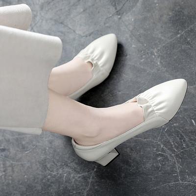 浅口单鞋女2021新款春夏季粗跟真皮尖头皮鞋软皮中跟鞋子软底女鞋