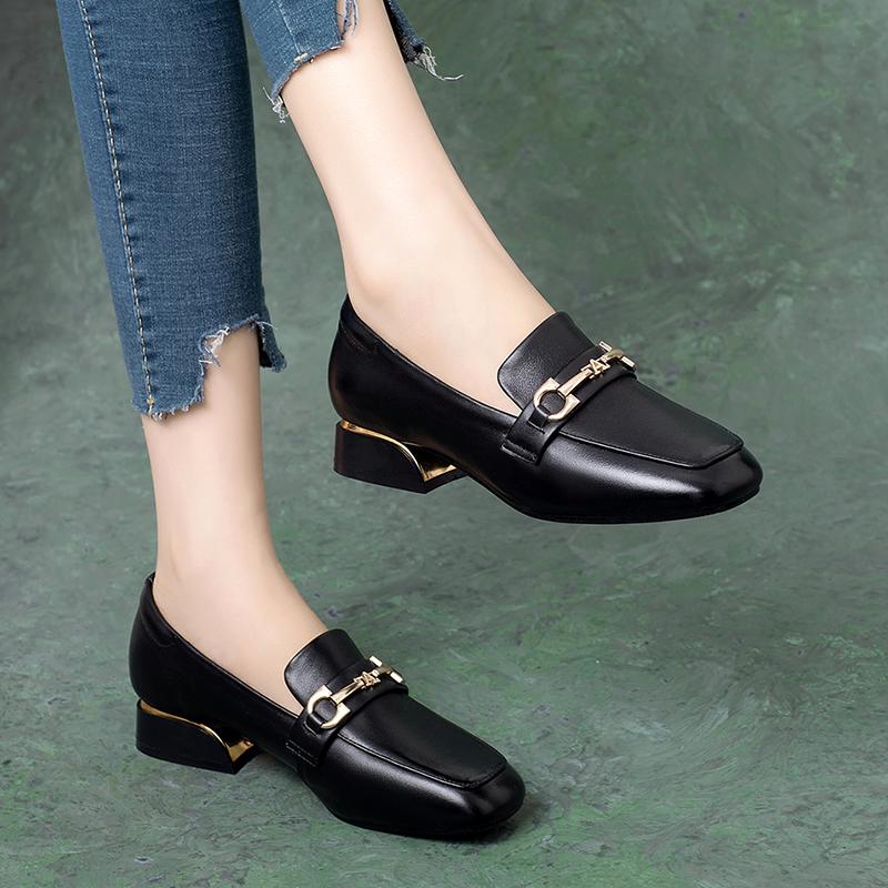 真皮2021春季新款单鞋女乐福鞋平底软皮小皮鞋女鞋春秋粗跟英伦风