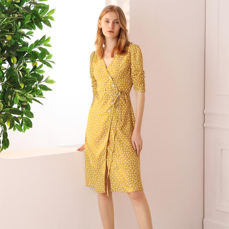 simple retro黄色波点连衣裙夏复古雪纺碎花桔梗法式茶歇裹身裙女