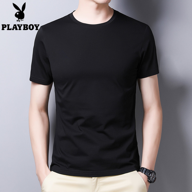 Young and middle-aged mens short sleeve T-shirt ice silk round neck polo shirt summer new trend and all-around solid color loose clothing