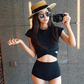 定制韩版黑色保守显瘦钢托款交叉绑带高腰遮肚分体温泉游泳衣女