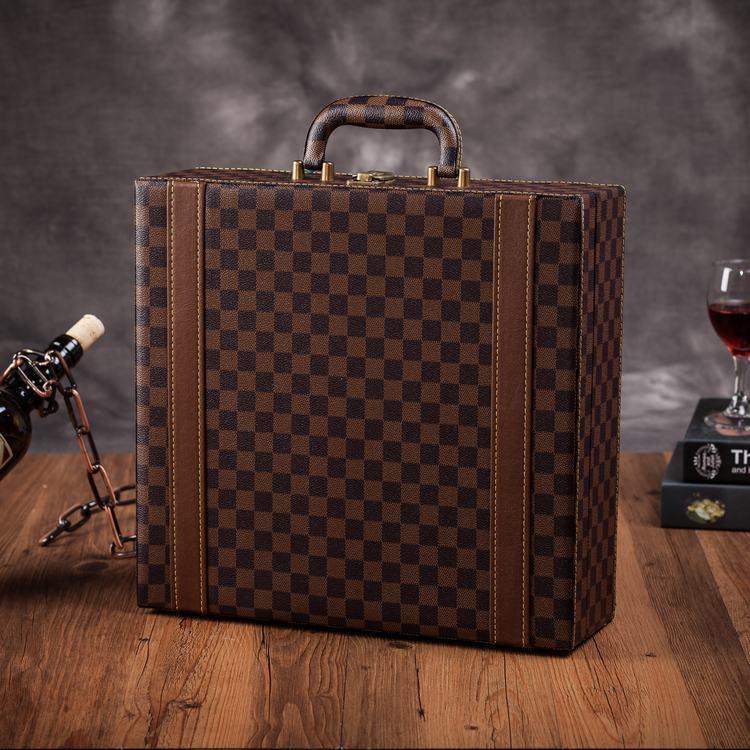 现货红酒皮盒 葡萄酒包装盒 四支装酒盒 红酒礼品盒 4只装酒箱