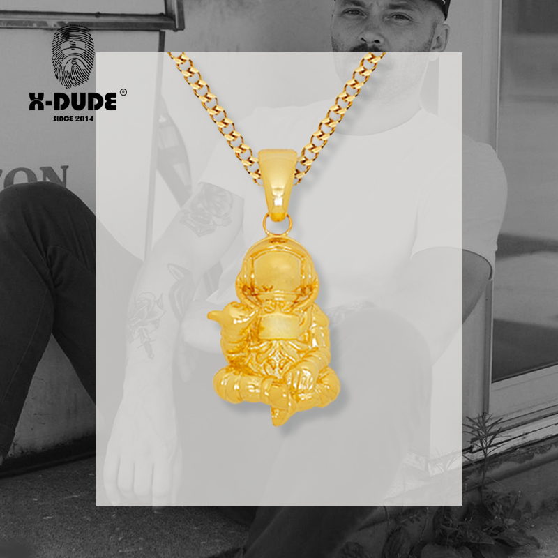 X-dude American hip hop Street European and American fashion brand jewelry gold and silver personalized fashion astronaut Necklace