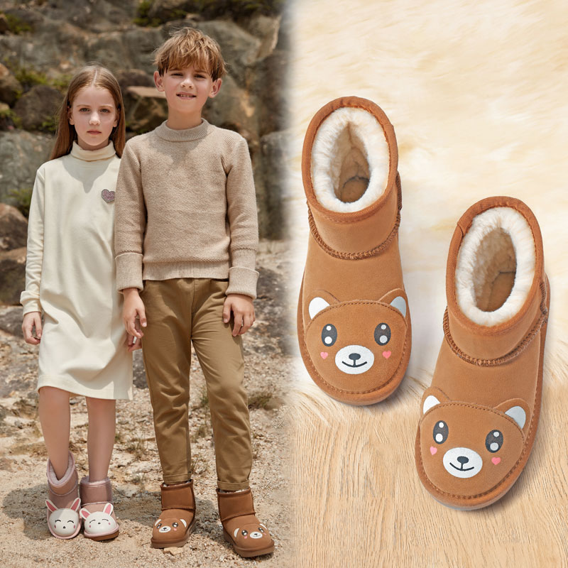 Childrens snow boots boys winter 2019 leather boots middle school childrens cotton boots cow leather cartoon short boots girls
