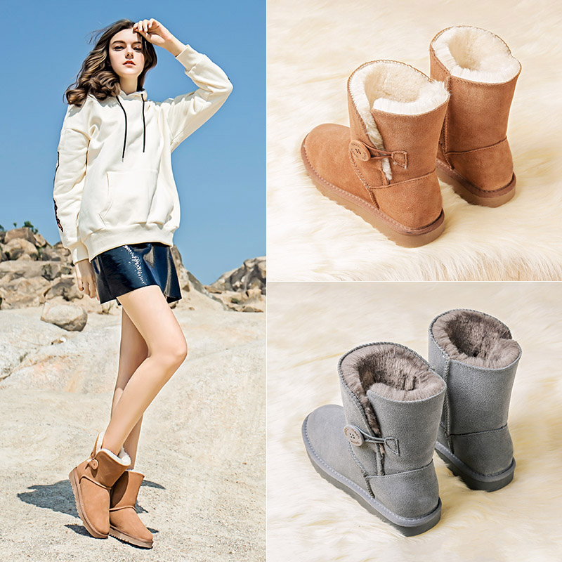 Snow boots womens middle boots button flat bottom new womens shoes thickened warm student cotton shoes leather plush cotton boots