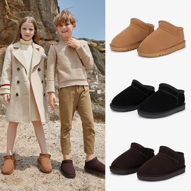Childrens snow boots 2020 new leather girls winter shoes thickened warm boys short boots easy to wear and take off fashion
