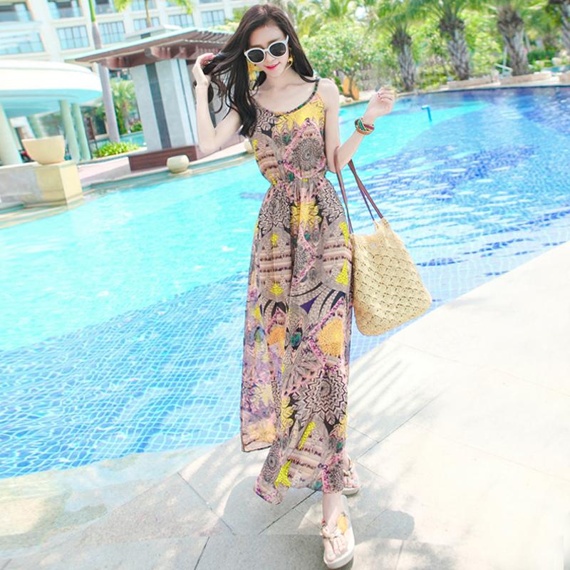 夏季新品女装修身吊带印花雪纺连衣裙波西米亚长裙海边度假沙滩裙