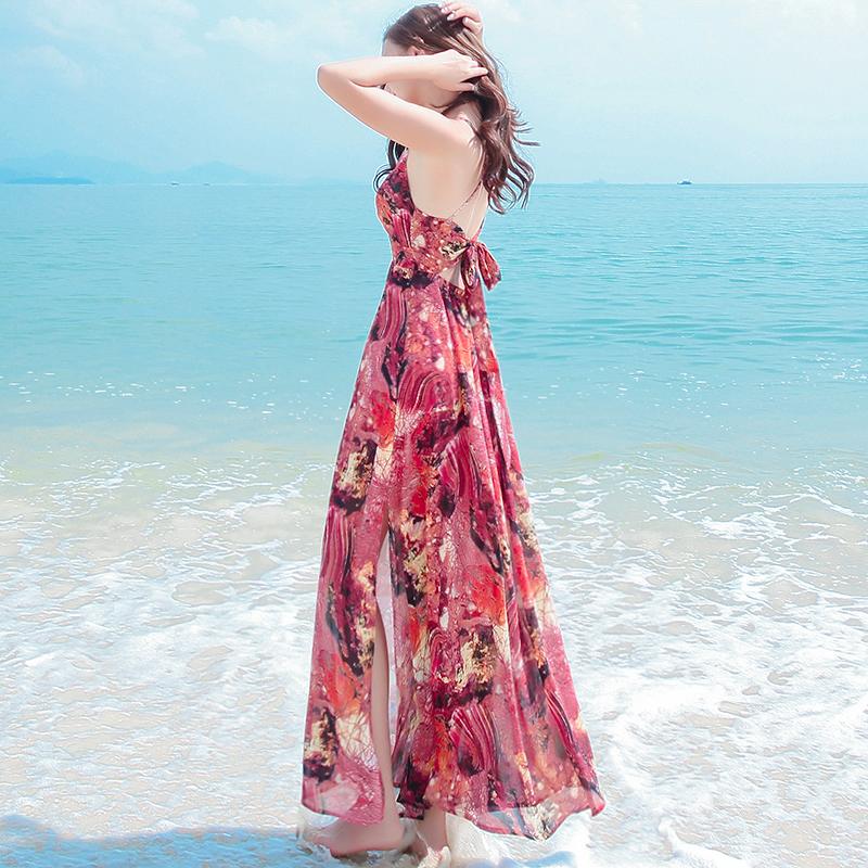 夏季新款开叉吊带露背雪纺沙滩裙159.00元包邮