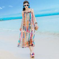 夏季新款长裙波西米亚吊带大码显瘦雪纺连衣裙泰国海边度假沙滩裙