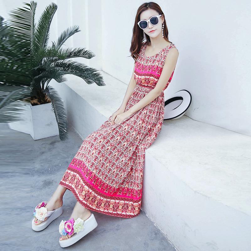 夏季新款女装修身显瘦无袖雪纺连衣裙波西米亚长裙海边度假沙滩裙