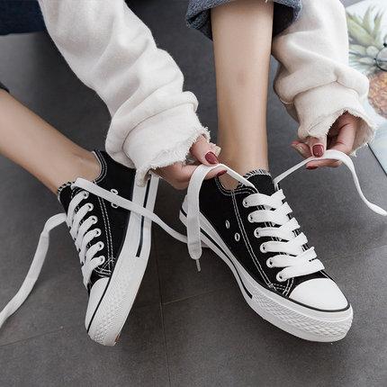 2019球鞋夏季新款百搭小白帆布鞋女韩版黑色布鞋休闲女鞋学生板鞋