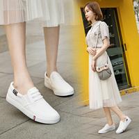 Весна 2018 г. новая коллекция кеды на плоской подошве корейская версия дикий белый Обувь педаль обувь ленивый маленький белый Летние сапоги