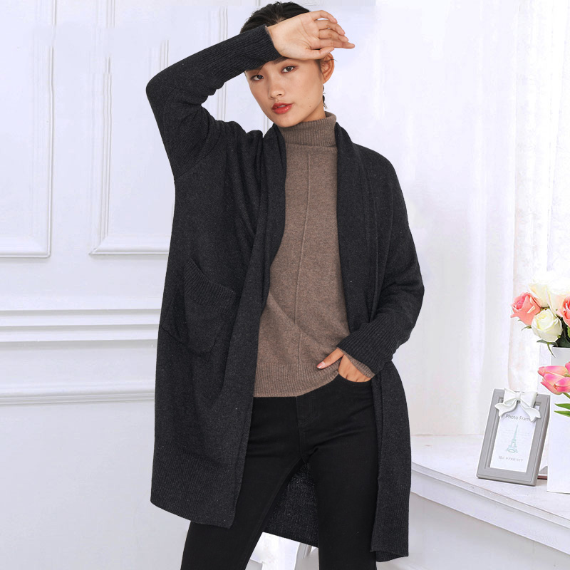 Woolen cardigan womens middle and long loose large size autumn and winter sweaters for the elderly with Korean foreign style sweater jacket