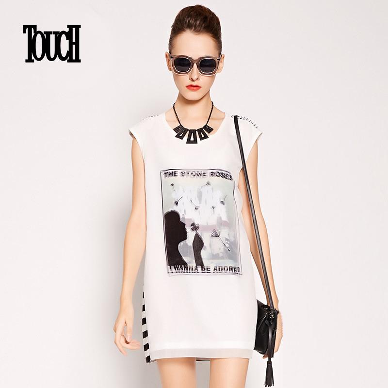 TOUCH女装夏季新品街头个性图案印花无袖雪纺连衣裙潮流H裙