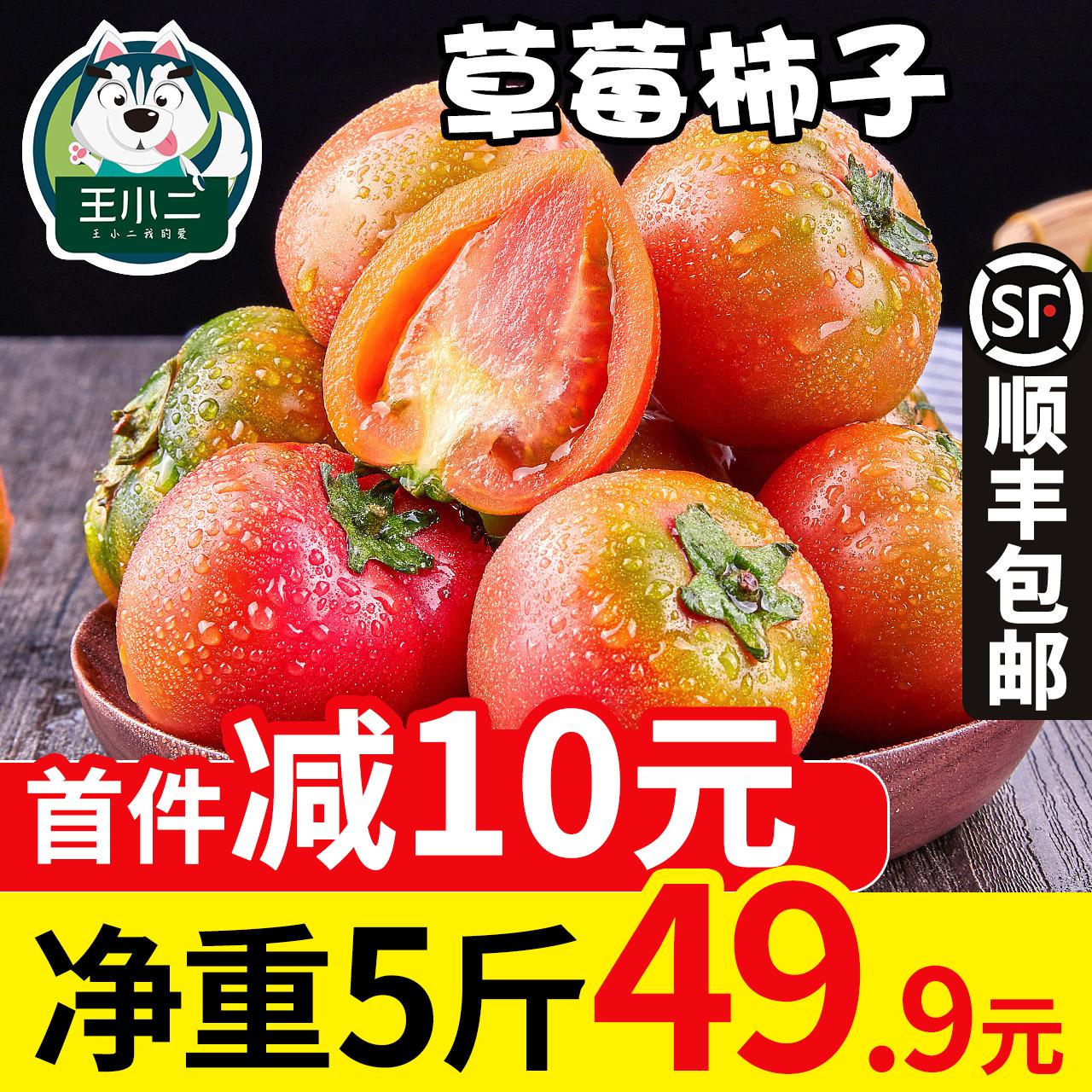王小二 丹东铁皮柿子新鲜水果草莓西红柿小番茄绿腚脆柿包邮5斤