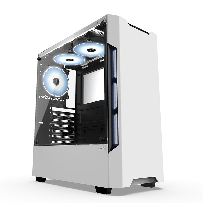航嘉GX580H 台式机箱电源风扇套装游戏水冷ATX板玻璃机箱侧透背线